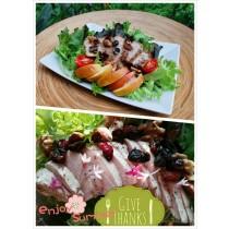 來吉蔬食E方案特惠組(嫩雞堅果生菜沙拉&黃金炙燒松阪豬沙拉組合買5送1)